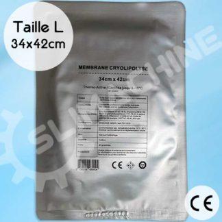 Membranes pour soin cryolipolyse, certification CE taille L / 34cm x 42cm, pré-imbibées de gel. Thermo-actives.