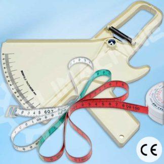 Kit de mesure de graisse avec pince à plis et ruban.
