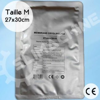 Membranes pour soin cryolipolyse, certification CE taille M / 27cm x 30cm, pré-imbibées de gel. Thermo-actives.